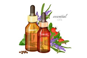 Essential oils made of natural wild herbs in glass bottles