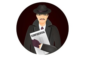 Mysterious private detective with confidential documents in hands