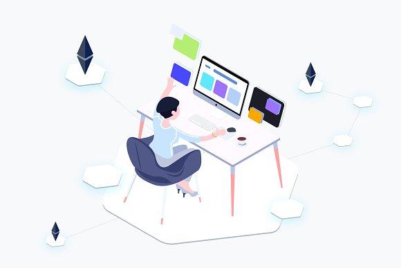 Isometric Graphic Blockchain Data