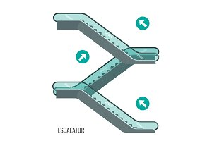 Scheme of escalators moving, staircases with arrows showing way movement
