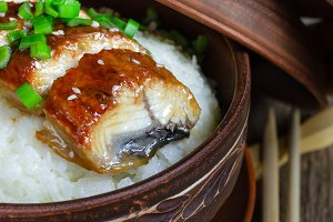 Bowl of rice with broiled eel.