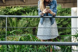 Woman chatting with smartphone