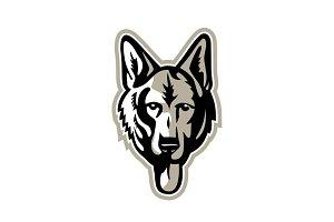 Alsatian Wolf Dog Head Mascot