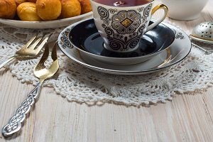Cup of tea on wood table