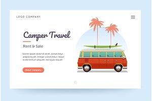 Camper travel website template. Surfing retro van illustration. Home page concept. UI design mockup.