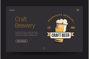 Craft brewery or pub website template. Beer glass web banner. Vintage retro illustration. Home page concept. UI design mockup.