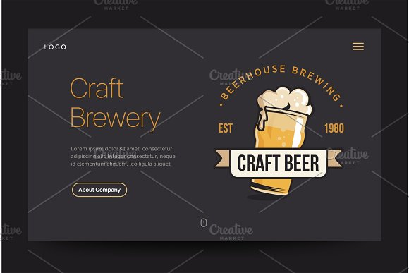 craft brewery or pub website template beer glass web banner