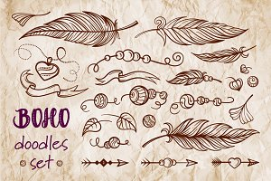 Boho vector doodles set