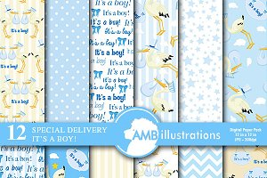 Baby Boy Digital Papers, AMB-834