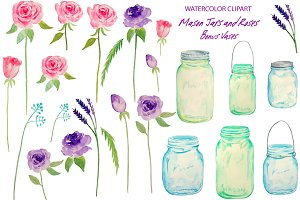 Watercolor Wedding Mason Jars Roses