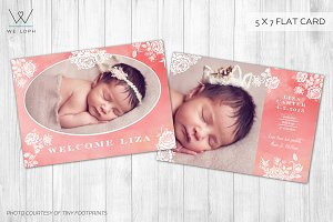 New born baby girl template card