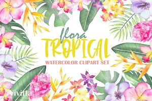 Tropical Flora, watercolor clipart