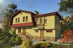 3D visualization. A large house.