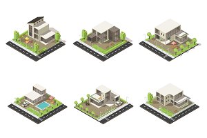 Isometric Cottages And Mansions Set