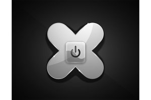 Glass transparent effect power start button, on off icon, vector UI or app symbol design