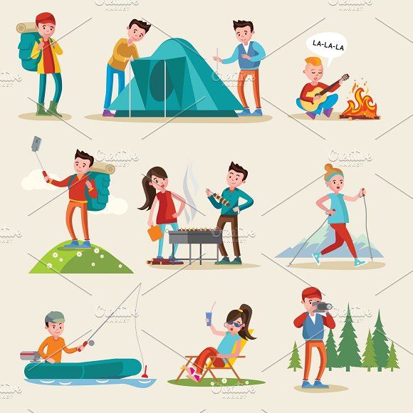 Backpacking And Camping Tourism Set