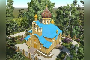 3D visualization. Orthodox Church.