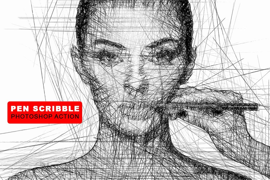 Pen Scribble Photoshop Action Photoshop Add Ons Creative