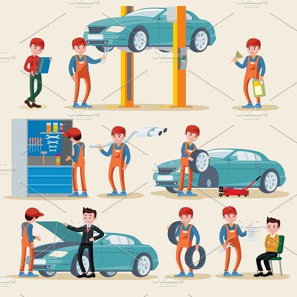Car Service Elements Set