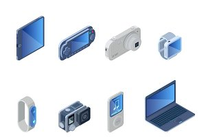 Digital Technology Gadgets Set