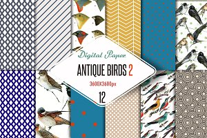 Antique birds 2 Digital Paper