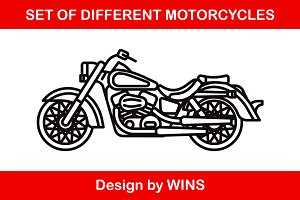 Set of different motorcycles