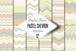 Pink pastel chevron digital paper