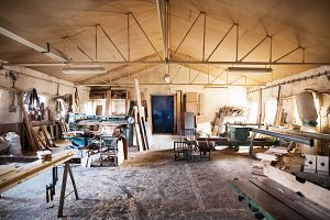 An interior of carpentry workshop.