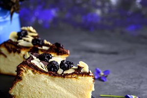cheesecake on a black background