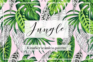 Jungle. Marker seamless patterns.