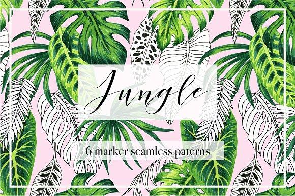 Jungle Marker Seamless Patterns
