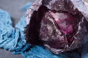 Whole Purple cabbage on dark background