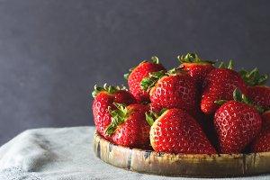 Fresh strawberries on a green cloth