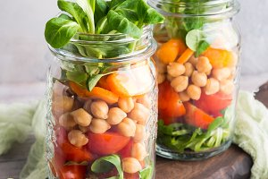 Salad with chickpeas in mason jar