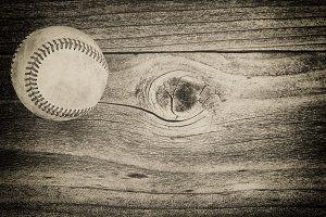 Used baseball on age wood