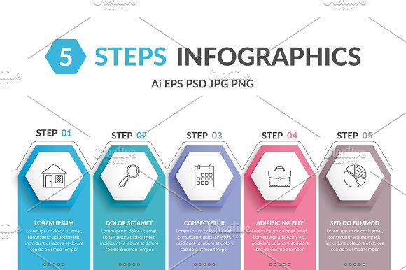 Infographic Template With 5 Hexagons
