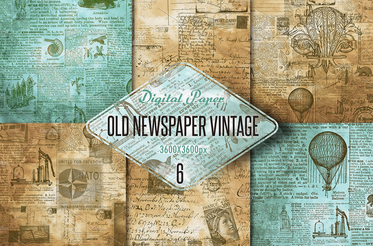 Old Newspaper Vintage Digital Paper Textures Creative Market