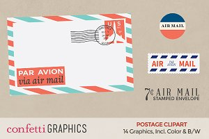 Airmail Postage Clipart