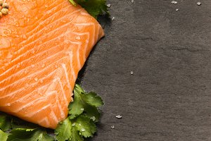 salmon fillet with coriander