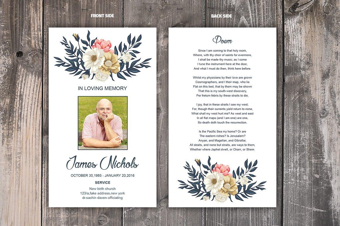 Funeral Prayer Card Template Templates Creative Market