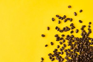 Coffee Beans Flat Background