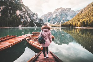 Young Woman Enjoying Lago di Braies