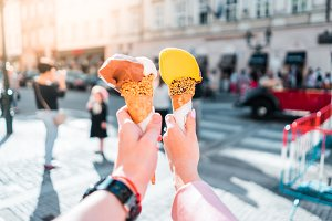 Young Couple Enjoying an Ice Cream