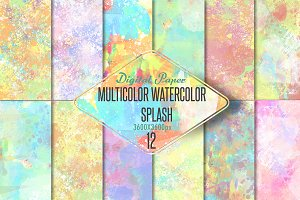 Watercolor splash Digital paper