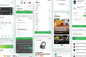 iPhone e-commerce app UI Kit - 70 sc