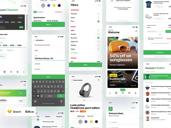 IPhone E-commerce App UI Kit 70 Sc