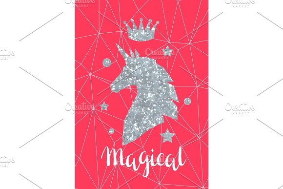 Card With Fantasy Unicorn And Silver Glitter Texture