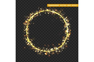 Gold circle frame with glowing lights and sparkle bokeh effects, isolated on transparent background.
