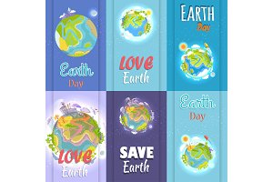 Love and Save Earth Day Agitation Placards Set