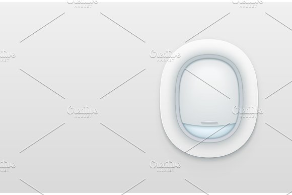 Realistic Portholes Of Airplane White Window Aircraft Vector Illustration
